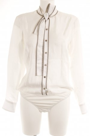 van Laack Bodysuit Blouse white-grey brown elegant