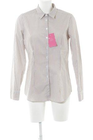 van Laack Hemd-Bluse beige-weiß Streifenmuster Business-Look