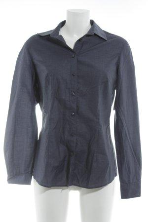 van Laack Blusa-camisa azul oscuro-blanco raya diplomática estilo clásico