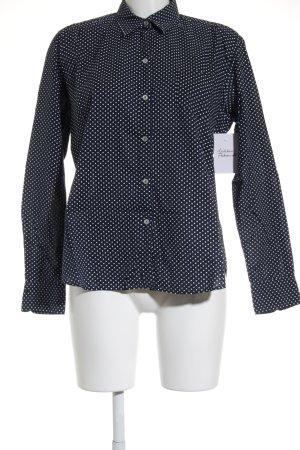 van Laack Hemd-Bluse dunkelblau-weiß Punktemuster Casual-Look