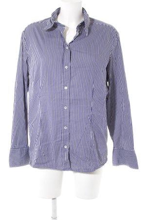 van Laack Hemd-Bluse dunkelblau-weiß Streifenmuster klassischer Stil