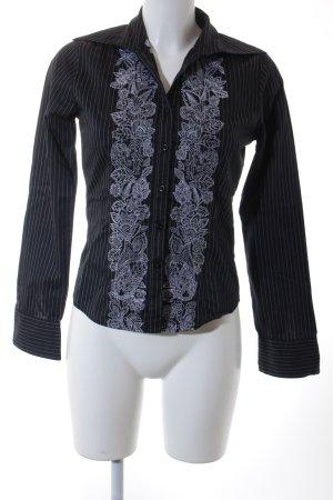 van Laack Hemd-Bluse schwarz-weiß florales Muster Business-Look