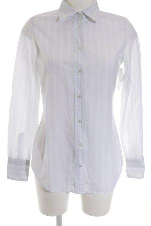 van Laack Hemd-Bluse weiß-blassblau Streifenmuster Casual-Look