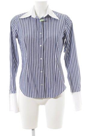 van Laack Hemdblouse wit-donkerblauw gestreept patroon zakelijke stijl