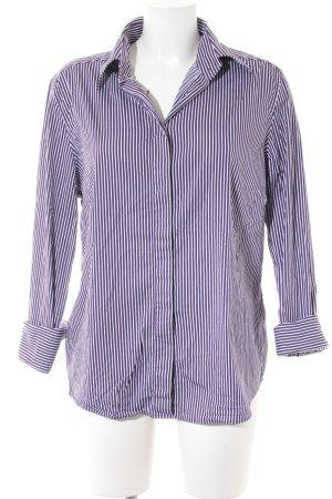 van Laack Blouse-chemisier blanc-violet foncé motif rayé style classique
