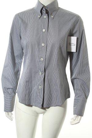 van Laack Hemd-Bluse weiß-schwarz Vichykaromuster klassischer Stil