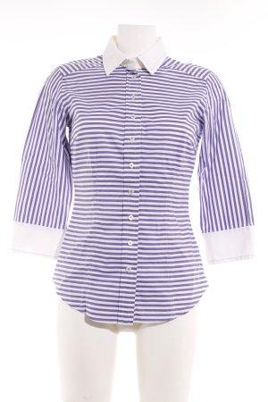 van Laack Hemd-Bluse wollweiß-stahlblau Streifenmuster Business-Look