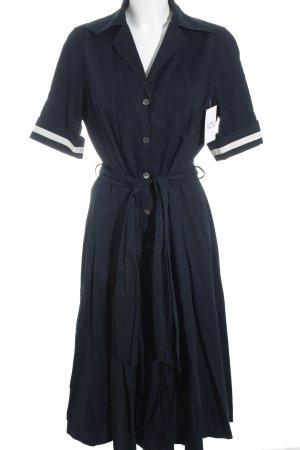 van Laack Hemdblusenkleid dunkelblau-creme Marine-Look
