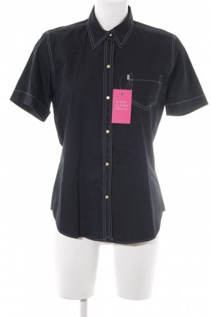 van Laack Kurzarm-Bluse schwarz klassischer Stil
