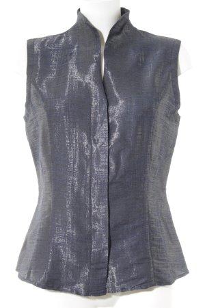 van Laack Kurzarm-Bluse silberfarben-dunkelblau Casual-Look