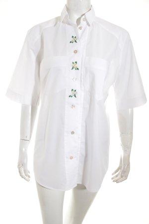 van Laack Kurzarm-Bluse weiß-grün Blumenmuster Hippie-Look