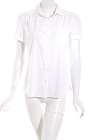 van Laack Kurzarm-Bluse weiß klassischer Stil