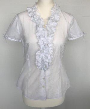 van Laack Kurzarm-Bluse weiß mit Rüschen und Schleifchen