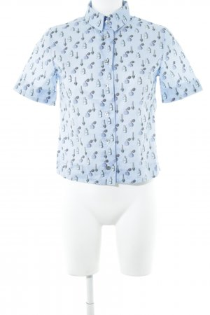 van Laack Kurzarmhemd blau abstraktes Muster Casual-Look