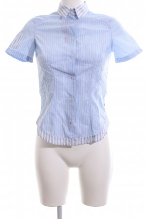 van Laack Kurzarmhemd blau Streifenmuster Casual-Look