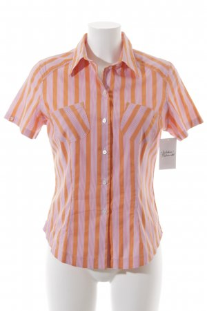 van Laack Kurzarmhemd dunkelorange-rosa Streifenmuster Casual-Look