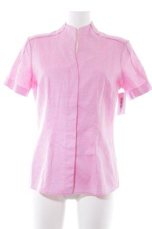 van Laack Kurzarmhemd pink-weiß Pepitamuster Casual-Look