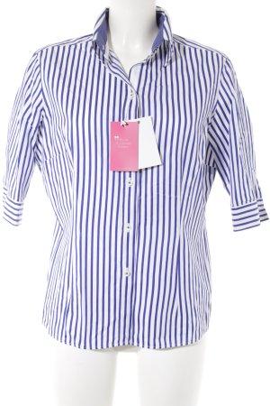 van Laack Kurzarmhemd weiß-blau Streifenmuster Business-Look