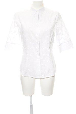 van Laack Kurzarmhemd weiß florales Muster Casual-Look