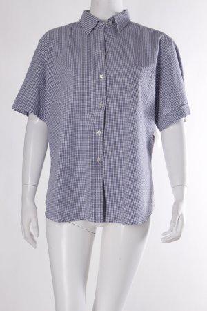 van Laack Kurzarmhemd weiß-stahlblau Karomuster schlichter Stil