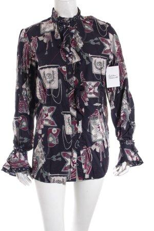 van Laack Langarm-Bluse abstraktes Muster extravaganter Stil