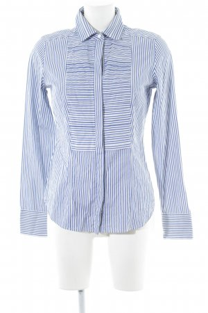 van Laack Long Sleeve Blouse blue-white striped pattern business style