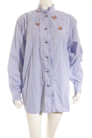 van Laack Langarm-Bluse blau-weiß Streifenmuster Street-Fashion-Look