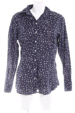 van Laack Langarm-Bluse dunkelblau-weiß Sternenmuster Casual-Look