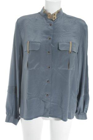 van Laack Langarm-Bluse graublau-beige schlichter Stil