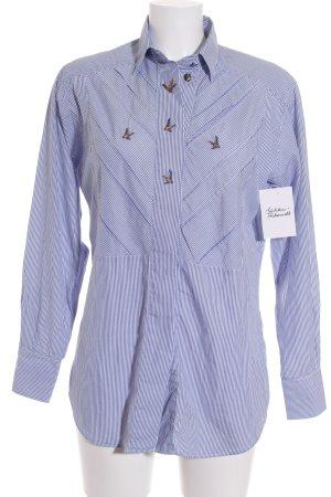 van Laack Langarm-Bluse weiß-blau Streifenmuster klassischer Stil