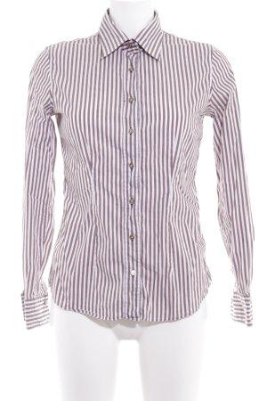 van Laack Langarm-Bluse weiß-graubraun Streifenmuster Casual-Look