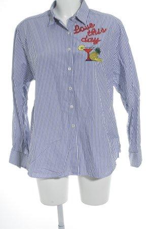 van Laack Langarm-Bluse weiß-kornblumenblau Streifenmuster Street-Fashion-Look