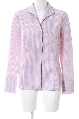 van Laack Langarmhemd weiß-pink Streifenmuster Casual-Look