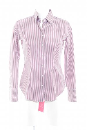 van Laack Long Sleeve Shirt bordeaux-natural white striped pattern simple style