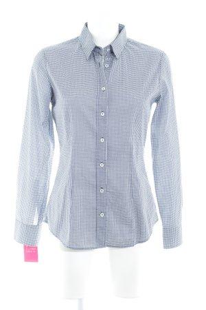 van Laack Langarmhemd dunkelblau-wollweiß Punktemuster schlichter Stil