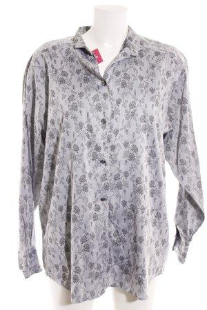van Laack Langarmhemd grau-schwarz florales Muster Elegant