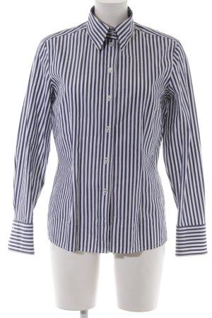 van Laack Langarmhemd weiß-dunkelblau Streifenmuster schlichter Stil
