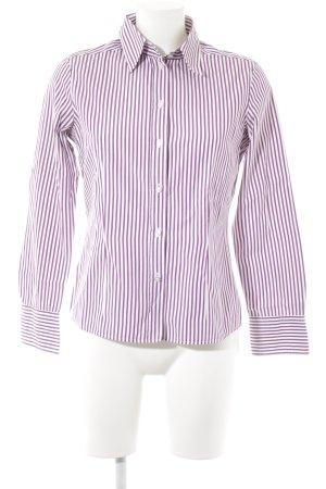 van Laack Langarmhemd weiß-dunkelviolett Streifenmuster Casual-Look