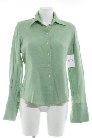 van Laack Langarmhemd weiß-grün Streifenmuster Casual-Look