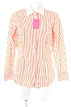 van Laack Camisa de manga larga blanco-naranja estampado a rayas look casual