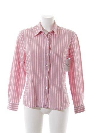 van Laack Langarmhemd weiß-rosa Streifenmuster Casual-Look