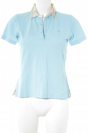 van Laack Polo-Shirt hellblau-gelb Casual-Look