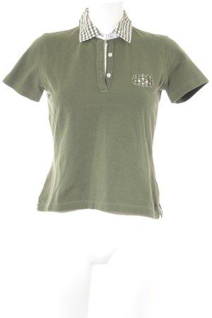 van Laack Polo-Shirt olivgrün-weiß Casual-Look