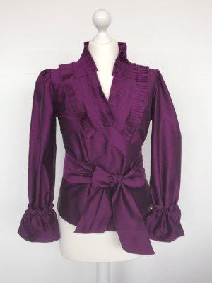 van Laack Seidenbluse, Taft, purpur-violett, plissiert