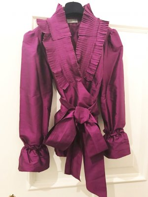 van Laack Seidenbluse Taft, purpur-violett, plissiert