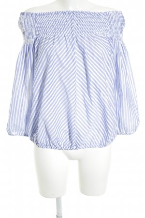 van Laack Shirttunika stahlblau-weiß Streifenmuster Casual-Look