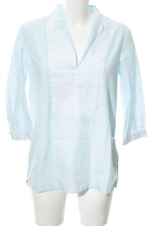 van Laack Tunikabluse hellblau-weiß Colourblocking minimalistischer Stil