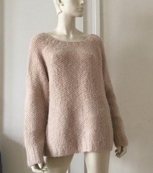 Maglione lavorato a maglia rosa antico Lana d'alpaca