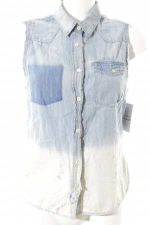 Vanilia ärmellose Bluse weiß-hellblau Farbverlauf Casual-Look