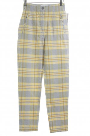 Vanilia Pantalon taille haute jaune-bleu pâle motif à carreaux style anglais